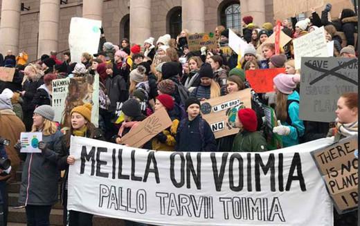 Finlandiya'da öğrencilerden iklim boykotu