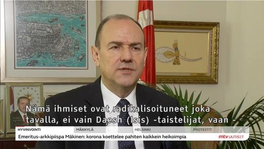Büyükelçi Erkul, Fin televizyonuna konuştu:
