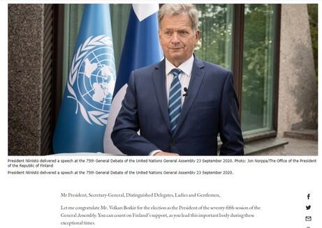 """Cumhurbaşkanı Niinistö BM Genel Kurulu'nda iddialı konuştu: """"Finlandiya dünyanın ilk sıfır karbon emisyonlu ülkesi olacak"""